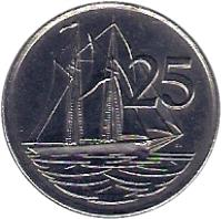 reverse of 25 Cents - Elizabeth II - 3'rd Portrait; Magnetic (1992 - 1996) coin with KM# 90a from Cayman Islands. Inscription: 25