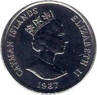 obverse of 10 Cents - Elizabeth II - 3'rd Portrait (1987 - 1990) coin with KM# 89 from Cayman Islands. Inscription: CAYMAN ISLANDS ELIZABETH II 1987