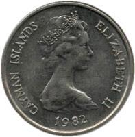 obverse of 25 Cents - Elizabeth II - 2'nd Portrait (1972 - 1986) coin with KM# 4 from Cayman Islands. Inscription: CAYMAN ISLANDS ELIZABETH II 1977