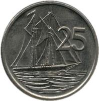 reverse of 25 Cents - Elizabeth II - 2'nd Portrait (1972 - 1986) coin with KM# 4 from Cayman Islands. Inscription: 25