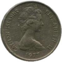 obverse of 5 Cents - Elizabeth II - 2'nd Portrait (1972 - 1986) coin with KM# 2 from Cayman Islands. Inscription: CAYMAN ISLANDS ELIZABETH II 1982