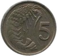 reverse of 5 Cents - Elizabeth II - 2'nd Portrait (1972 - 1986) coin with KM# 2 from Cayman Islands. Inscription: 5