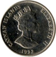 obverse of 5 Cents - Elizabeth II - 3'rd Portrait; Magnetic (1992 - 1996) coin with KM# 88a from Cayman Islands. Inscription: CAYMAN ISLANDS ELIZABETH II 1996