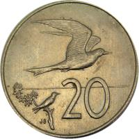reverse of 20 Tene - Elizabeth II - 2'nd Portrait (1972 - 1983) coin with KM# 5 from Cook Islands. Inscription: 20