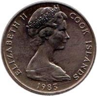 obverse of 10 Tene - Elizabeth II - 2'nd Portrait (1972 - 1983) coin with KM# 4 from Cook Islands. Inscription: ELIZABETH II COOK ISLANDS 1972