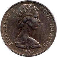 obverse of 50 Tene - Elizabeth II - 2'nd Portrait (1972 - 1983) coin with KM# 6 from Cook Islands. Inscription: ELIZABETH II COOK ISLANDS 1976