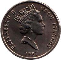 obverse of 50 Tene - Elizabeth II - 3'rd Portrait (1987 - 1992) coin with KM# 36 from Cook Islands. Inscription: ELIZABETH II COOK ISLANDS 1987