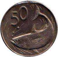 reverse of 50 Tene - Elizabeth II - 3'rd Portrait (1987 - 1992) coin with KM# 36 from Cook Islands. Inscription: 50 JB