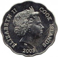 obverse of 1 Dollar - Elizabeth II - 4'th Portrait (2003 - 2010) coin with KM# 416 from Cook Islands. Inscription: ELIZABETH II COOK ISLANDS IRB 2003