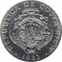 obverse of 2 Colones (1982 - 1984) coin with KM# 211 from Costa Rica. Inscription: REPUBLICA DE COSTA RICA 1982