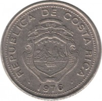 obverse of 10 Céntimos (1951 - 1976) coin with KM# 185 from Costa Rica. Inscription: REPUBLICA DE COSTA RICA 1976