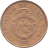 obverse of 50 Colones (1997 - 1999) coin with KM# 231 from Costa Rica. Inscription: REPUBLICA DE COSTA RICA AMERICA CENTRAL REPUBLICA DE COSTA RICA 1999