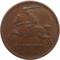 obverse of 5 Centai (1936) coin with KM# 81 from Lithuania. Inscription: LIETUVA