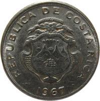 obverse of 5 Céntimos (1953 - 1967) coin with KM# 184.1a from Costa Rica. Inscription: REPUBLICA DE COSTA RICA AMERICA CENTRAL REPUBLICA DE COSTA RICA 1953