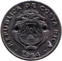 obverse of 2 Colones (1954) coin with KM# 187.1 from Costa Rica. Inscription: REPUBLICA COSTA RICA AMERICA CENTRAL REPUBLICA COSTA RICA . 1954 .