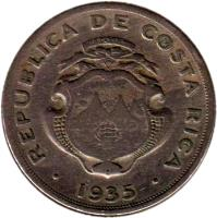 obverse of 1 Colón (1935) coin with KM# 173 from Costa Rica.