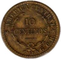 reverse of 10 Céntimos (1920 - 1922) coin with KM# 152 from Costa Rica. Inscription: 10 CENTIMOS