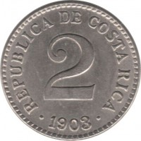 obverse of 2 Céntimos (1903) coin with KM# 144 from Costa Rica. Inscription: REPUBLIC DE COSTA RICA 2 .1903.