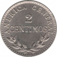 reverse of 2 Céntimos (1903) coin with KM# 144 from Costa Rica. Inscription: AMERICA CENTRAL 2 CENTIMOS