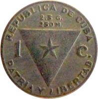 reverse of 1 Centavo (1958) coin with KM# 30 from Cuba. Inscription: 1958