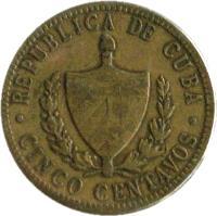 obverse of 5 Centavos (1943) coin with KM# 11.3a from Cuba. Inscription: REPUBLICA DE CUBA · CINCO CENTAVOS ·