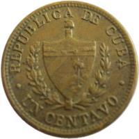 obverse of 1 Centavo (1943) coin with KM# 9.2a from Cuba. Inscription: REPUBLICA DE CUBA UN CENTAVO