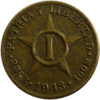 reverse of 1 Centavo (1943) coin with KM# 9.2a from Cuba. Inscription: PATRIA Y LIBERTAD I * 2.3 GR. * 1943 * 300M *