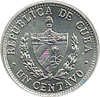 obverse of 1 Centavo (1963 - 2014) coin with KM# 33 from Cuba. Inscription: REPUBLICA DE CUBA · UN CENTAVO ·