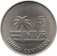 reverse of 5 Centavos - INTUR (1981 - 1989) coin with KM# 412 from Cuba. Inscription: 5 INTUR CINCO CENTAVOS
