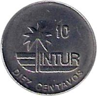 reverse of 10 Centavos - INTUR (1989) coin with KM# 415.2a from Cuba. Inscription: 10 INTUR DIEZ CENTAVOS