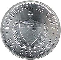 obverse of 2 Centavos (1983 - 2010) coin with KM# 104 from Cuba. Inscription: REPUBLIA DE CUBA · DOS CENTAVOS ·