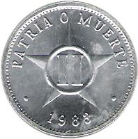 reverse of 2 Centavos (1983 - 2010) coin with KM# 104 from Cuba. Inscription: PATRIA O MUERTE · 1985 ·