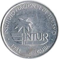 obverse of 10 Centavos - INTUR (1988) coin with KM# 416 from Cuba. Inscription: INSTITUTO NACIONAL DE TURISMO · 1988 · CUBA