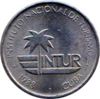 obverse of 1 Centavo - INTUR (1988) coin with KM# 410 from Cuba. Inscription: INSTITUTO NACIONAL DE TURISMO · 1988 · CUBA ·