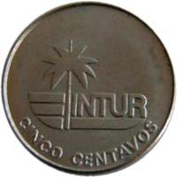 reverse of 5 Centavos - INTUR (1981) coin with KM# 411 from Cuba. Inscription: INTUR CINCO CENTAVOS