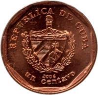 obverse of 1 Centavo (2000 - 2013) coin with KM# 729 from Cuba. Inscription: REPUBLICA DE CUBA 2006 un centavo