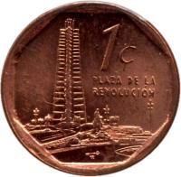 reverse of 1 Centavo (2000 - 2013) coin with KM# 729 from Cuba. Inscription: PLAZA DE LA REVOLUCIÓN 1¢