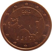 obverse of 2 Euro Cent (2011 - 2016) coin with KM# 62 from Estonia. Inscription: 2012 EESTI