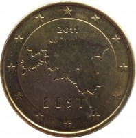 obverse of 10 Euro Cent - 2'nd Map (2011) coin with KM# 64 from Estonia. Inscription: 2011 EESTI