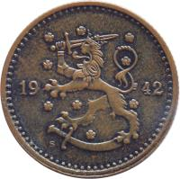 obverse of 1 Markka (1940 - 1951) coin with KM# 30a from Finland. Inscription: 19 41