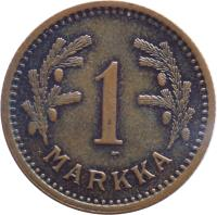 reverse of 1 Markka (1940 - 1951) coin with KM# 30a from Finland. Inscription: 1 MARKKA