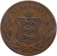 obverse of 8 Doubles - Victoria / Edward VII / George V (1864 - 1911) coin with KM# 7 from Guernsey. Inscription: GUERNESEY