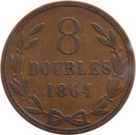 reverse of 8 Doubles - Victoria / Edward VII / George V (1864 - 1911) coin with KM# 7 from Guernsey. Inscription: 8 DOUBLES 1864