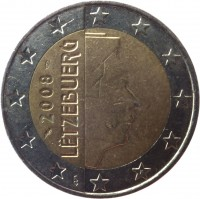 obverse of 2 Euro - Henri I - 2'nd Map (2007 - 2015) coin with KM# 93 from Luxembourg. Inscription: 2008 LËTZEBUERG GC F