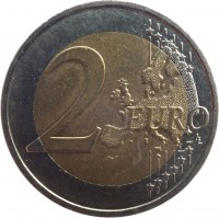 reverse of 2 Euro - Henri I - 2'nd Map (2007 - 2015) coin with KM# 93 from Luxembourg. Inscription: 2 EURO LL