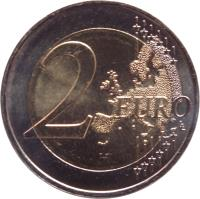 reverse of 2 Euro - Admission to UN (2013) coin with KM# 200 from Monaco. Inscription: 2 EURO LL
