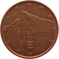 obverse of 5 Euro Cent (2009 - 2015) coin with KM# 97 from Slovakia. Inscription: SLOVENSKO 2009 Z