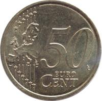 reverse of 50 Euro Cent (2009 - 2015) coin with KM# 100 from Slovakia. Inscription: 50 EURO CENT LL