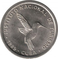 obverse of 10 Centavos - INTUR (1989) coin with KM# 415.2 from Cuba. Inscription: INSTITUTO NACIONAL DE TURISMO • 1989 • CUBA •