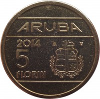 reverse of 5 Florin - Willem-Alexander (2014) coin with KM# 58 from Aruba. Inscription: ARUBA 2014 5 FLORIN